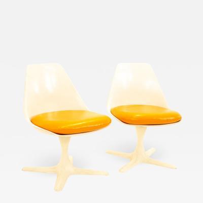 Burke Mid Century Orange Tulip Chairs Pair