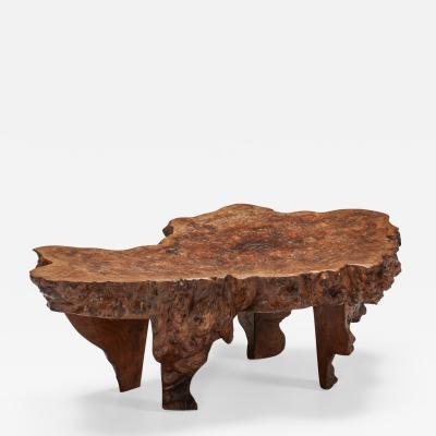 Burl Wood Coffee Table Wabi Sabi 1850s