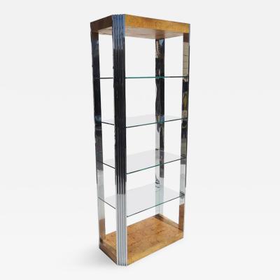 Burled Wood and Polished Aluminum Midcentury Etageres Two Available