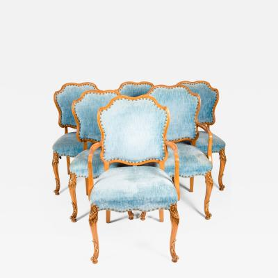 Burlwood Framed Gilt Details Dining Room Chair Set