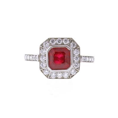 Burma Ruby and Diamond Framed Ring