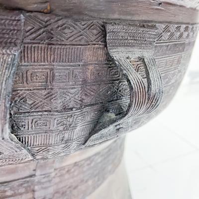 Burmese Rain Drum Cast Bronze Coffee Drink Table Intricate Relief Detail 1900s