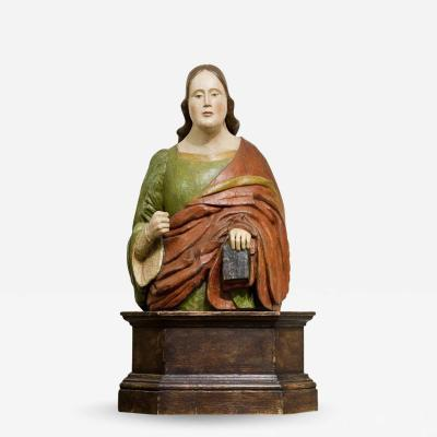 Bust of a Woman polychrome wood sculpture Italy