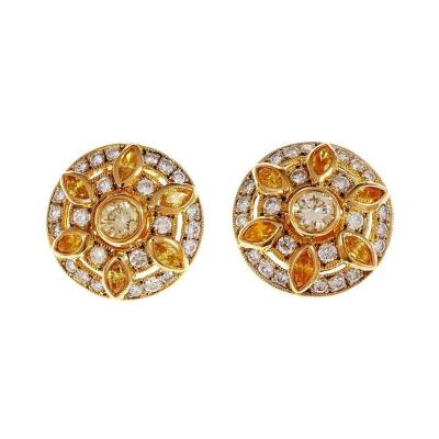 Button Style Yellow Diamond Gold Cluster Earrings