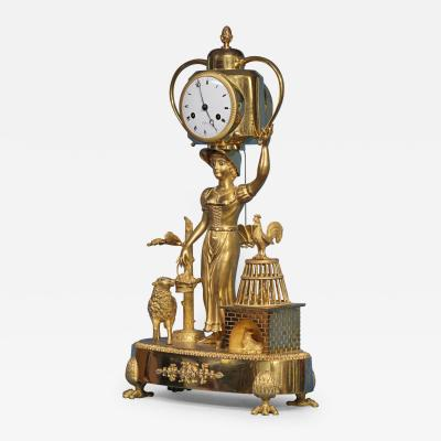 C 1810 French Figural Mantle Clock Signed Dubuc
