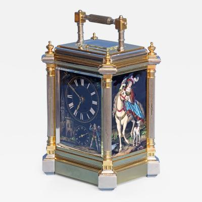 C 1895 French Giant Grand Sonnerie Carriage Clock with Limoges Panels