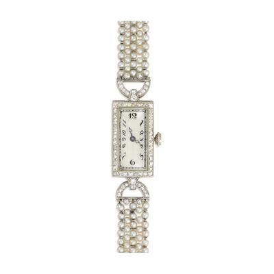 C H Meylan Art Deco Seed Pearl Diamond and Onyx Dress Watch C H Meylan Movement