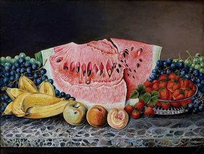 C M Barnitz Still Life Oil Painting of Fruit and Cut Watermelon on a Marble Tabletop
