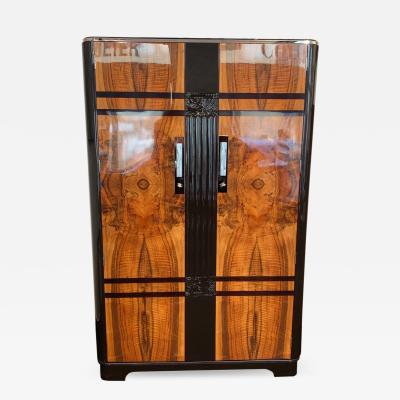 C W S LTD Cabinet Factory Art Deco Armoire Walnut and Dark Brown Lacquer London circa 1930