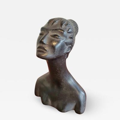 CARLO ALBERTO ROSSI Female Bucchero Bust by Carlo Alberto Rossi C 1940s