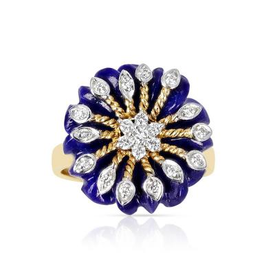 CARVED FLORAL 8 21 CT LAPIS WITH 0 21 CT DIAMONDS AND GOLD RING 14K YELLOW