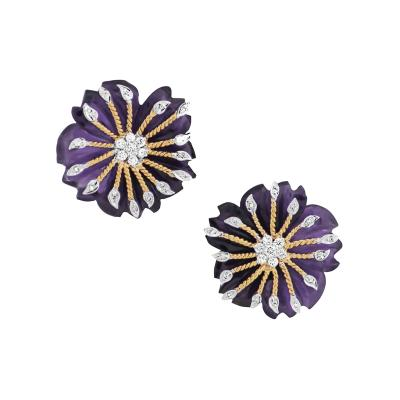 CARVED FLORAL AMETHYST EARRINGS WITH DIAMONDS
