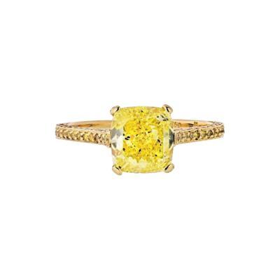 CARVIN FRENCH 2 CARAT CUSHION CUT DIAMOND FANCY INTENSE YELLOW GIA RING