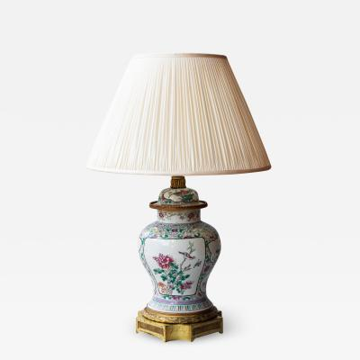 CHINESE FAMILLE ROSE PORCELAIN VASE CONVERTED TO A LAMP