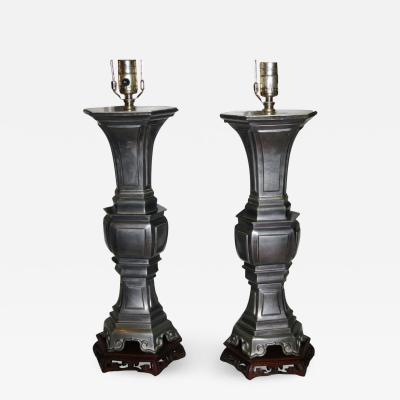 CHINESE PEWTER TABLE LAMPS