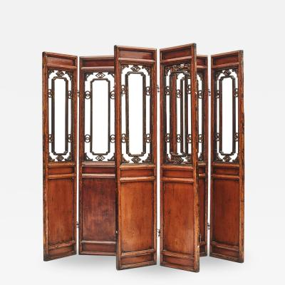 CHINESE QING SIX PANEL SCREEN ROOM DIVIDER
