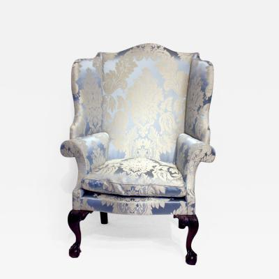 CHIPPENDALE CARVED MAHOGANY WING CHAIR