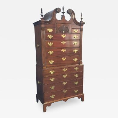 CHIPPENDALE MAHOGANY BONNET TOP CHEST ON CHEST Connecticut circa 1765 75