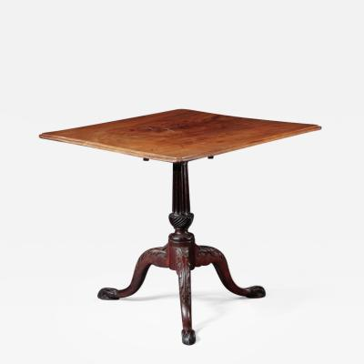 CHIPPENDALE TILT TOP TEA TABLE WITH A SQUARE MOLDED TOP