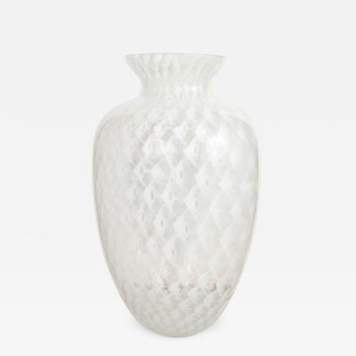 CLEAR AND WHITE LACEY MURANO GLASS VASE