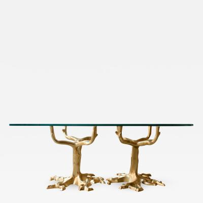 COFFEE TABLE WITH BRONZE TREE FORMS