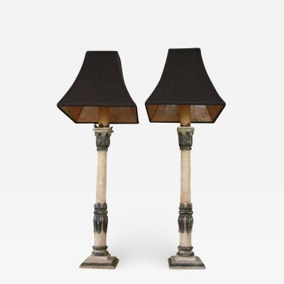 COLUMN ACANTHUS LEAF LAMPS PAIR