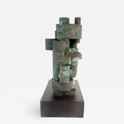 COPPER PATINATED COLUMN SCULPTURE 20TH C
