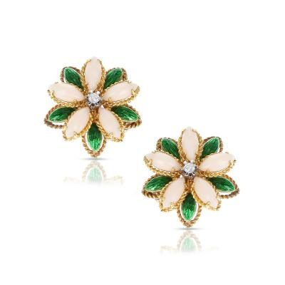 CORAL GREEN ENAMEL AND DIAMOND FLORAL EARRINGS 18 KARAT YELLOW GOLD