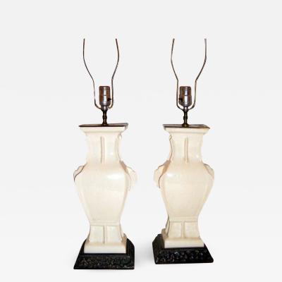 CREAM WHITE PORCELAIN CHINESE LAMPS