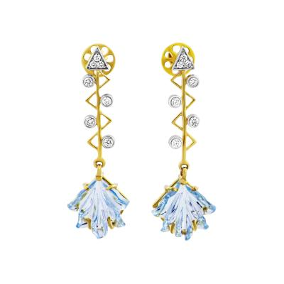CUPIDS ARROW LEAF CARVED BLUE TOPAZ EARRINGS WITH DIAMONDS 14K YELLOW GOLD