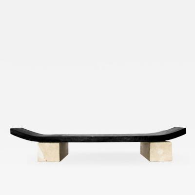 CURVED BLACK WHITE COFFEE TABLE