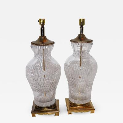 CUT CLEAR CRYSTAL TABLE LAMPS