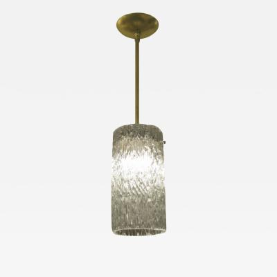 CYLINDRICAL TEXTURED GLASS PENDANT CEILING FIXTURE WITH BRASS DETAILS