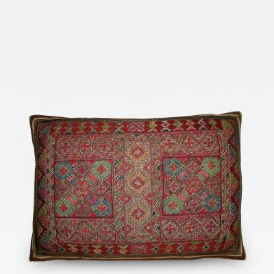 Ca 1880 Antique Metalic Silk Soumak Uzbak Pillow