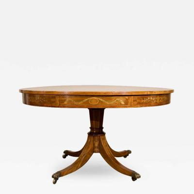Ca 1890 English Mahogany Inlaid Pedestal Table