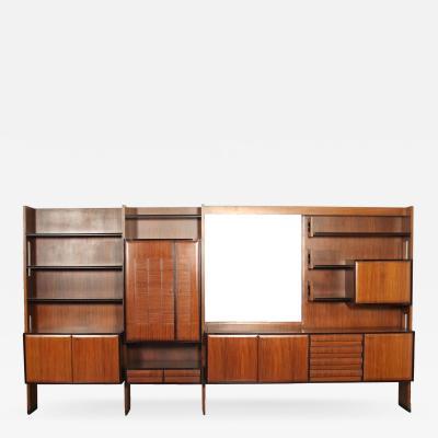 Cabinet Veneered Wood Mirrored Glass Italy 1960s