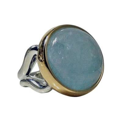 Cabochon Aquamarine Silver Gold Ring