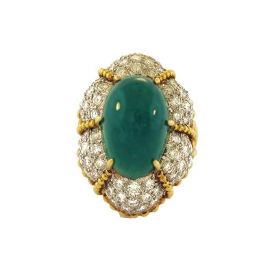 Cabochon Emerald and Pave Diamond Cocktail Ring