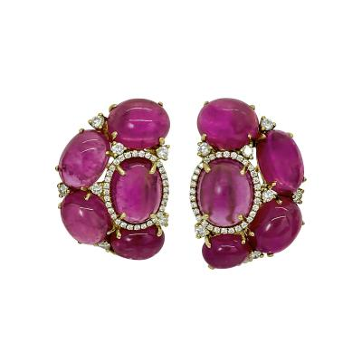 Cabochon Tourmaline and Diamond Earrings