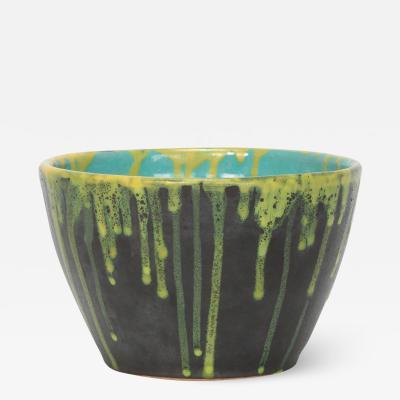 Cachepot flower pot turquoise yellow black 1950s