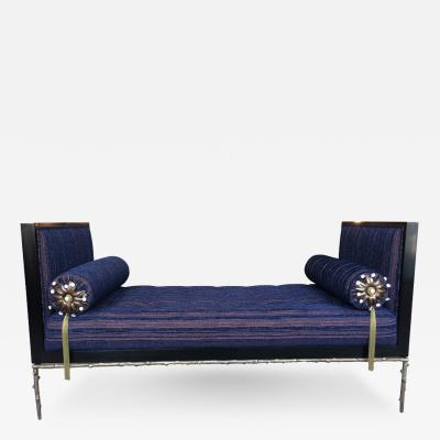 Cain Modern Custom Designed Daybed with Flora Inspired Base in Solid Bronze