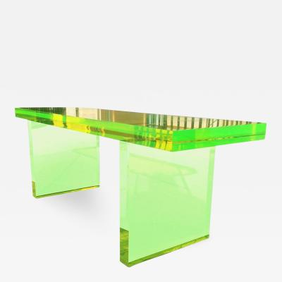 Cain Modern Lime Green Lucite Bench by Cain Modern Frame