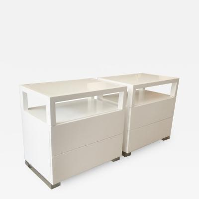 Cain Modern Pair of White Lacquer Lucite and Glass Nightstands by Cain Modern