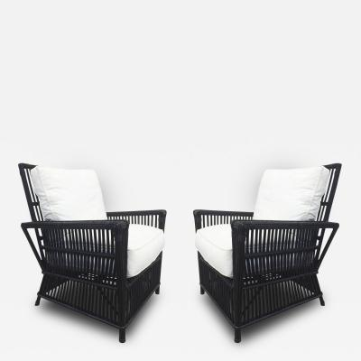 Cain Modern Pair of Wicker or Bamboo Patio Chairs Upholstered in White Canvas