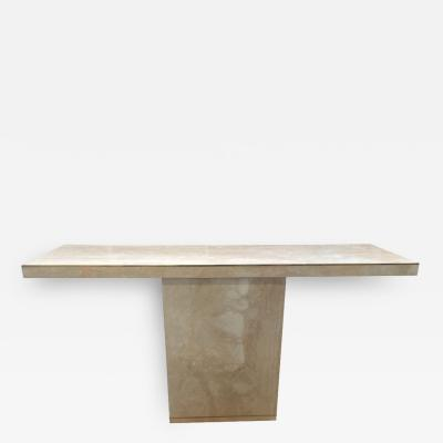 Cain Modern Travertine Brass Console Table by Cain Modern