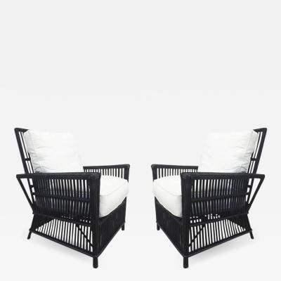 Cain Modern Wicker or Bamboo Patio Chairs and Ottomans Upholstered in White Canvas