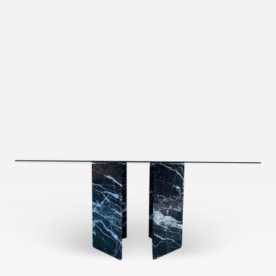 Calacatta Black Marble Pedestal Table with a Glass Top
