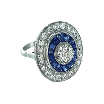 Calibrated Sapphire Diamond Platinum Engraved Ring
