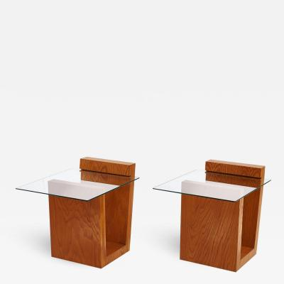 California Modern Cantilever Wood and Glass Tables 1970