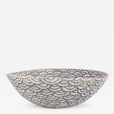 Camille Champignion Contemporary Black and White Ceramic Bowl Coupe Japonaise III